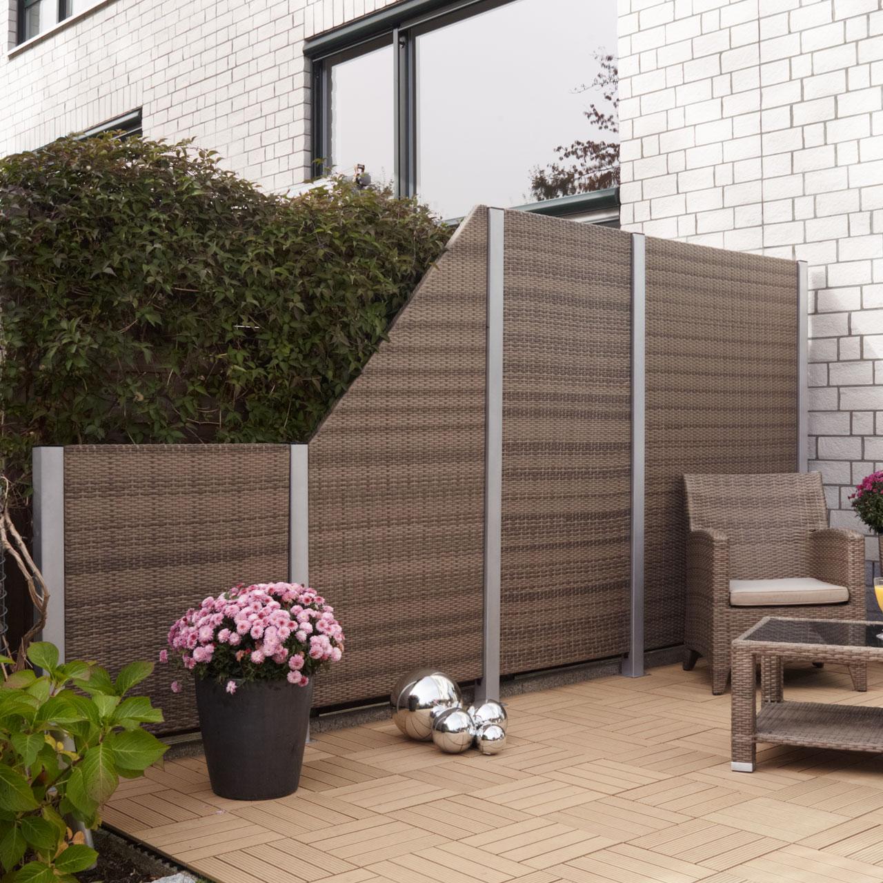 sichtschutzwand kunststoff geflecht braun bicolor. Black Bedroom Furniture Sets. Home Design Ideas