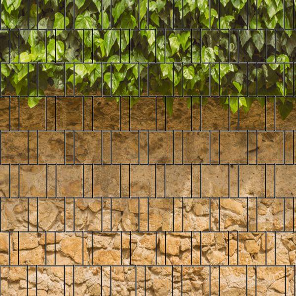 Sichtschutzstreifen bedruckt, Motiv Efeu und Mauer