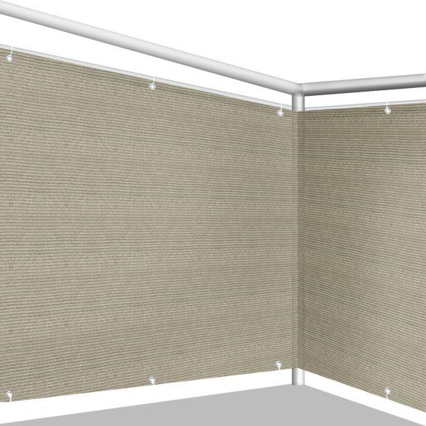 Balkonbespannung PE Classic, bicolor beige/grau