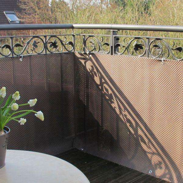 Balkonverkleidung Kunststoffgeflecht Mocca Anthrazit Sichtschutz