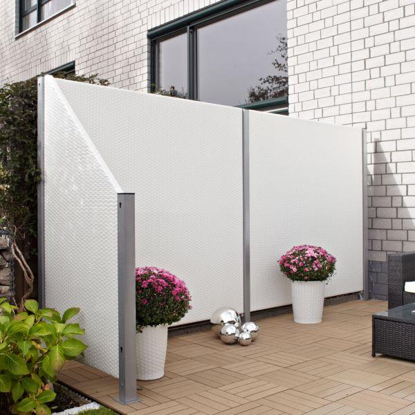 Sichtschutzwand kunststoff geflecht wei sichtschutz - Sichtschutz terrasse ohne bohren ...