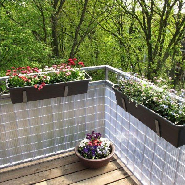 sichtschutzzaun pvc kunststoff montageset sunline transparent sichtschutz. Black Bedroom Furniture Sets. Home Design Ideas