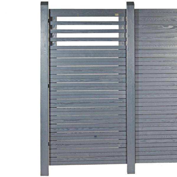 Sichtschutzwand Hochgebirgs-Lärche, Cubus mit Lichtausschnitt, schiefer-grau