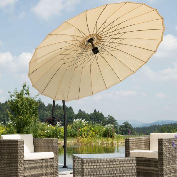 Ampel-Sonnenschirm LOTUS, Ø 270cm, inkl. Ständer und Schutzhülle