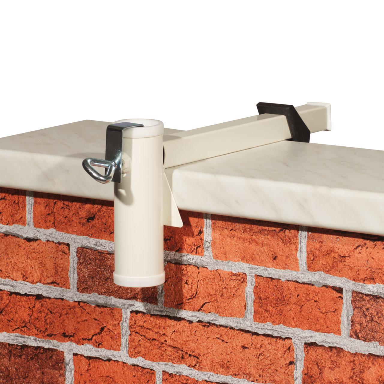 sonnenschirmhalter videx f r balkon mauerbr stung wei sichtschutz. Black Bedroom Furniture Sets. Home Design Ideas