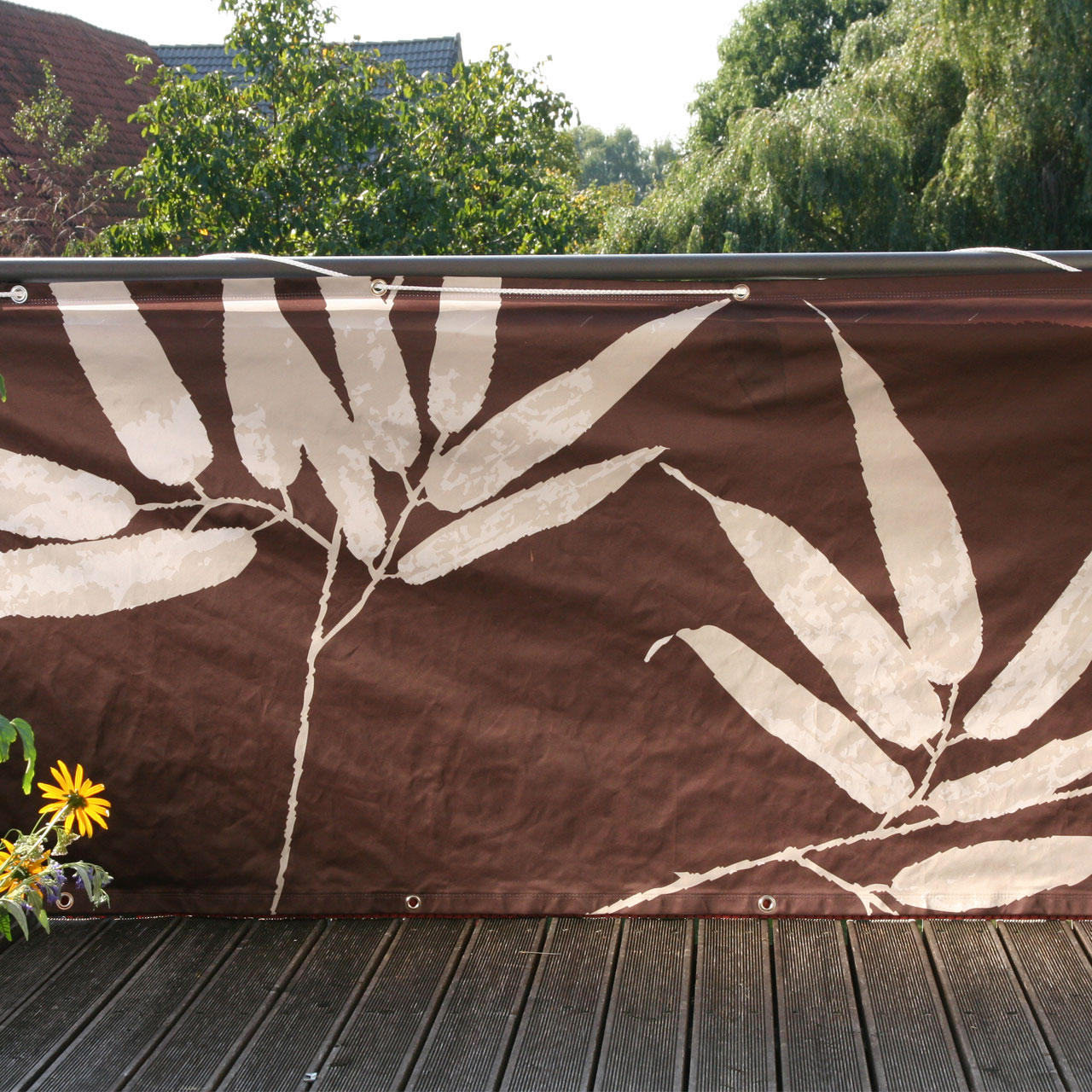 Balkon Banner Bambus braun