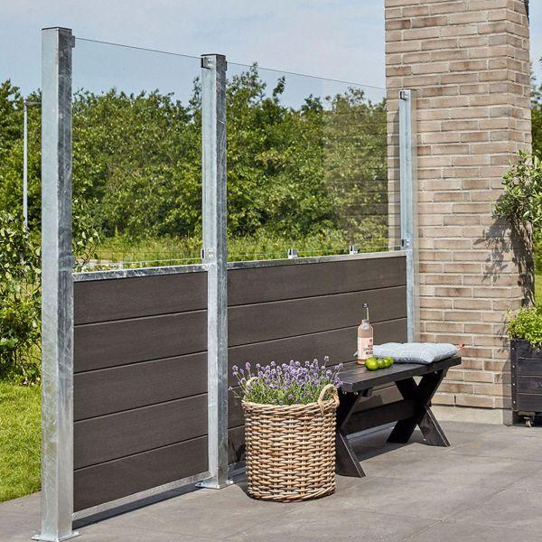 WPC Sichschutz-Zaun Futur, Glas 89 cm