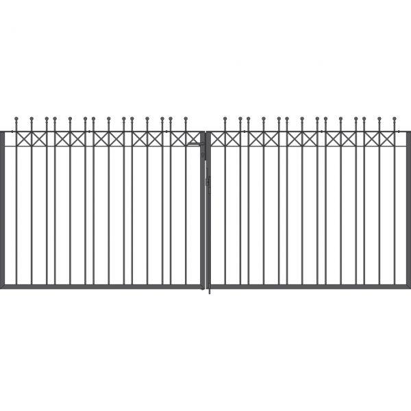 Toranlage 2-flügelig - Metallzaun Parkallee Classic Kugel H: 150cm