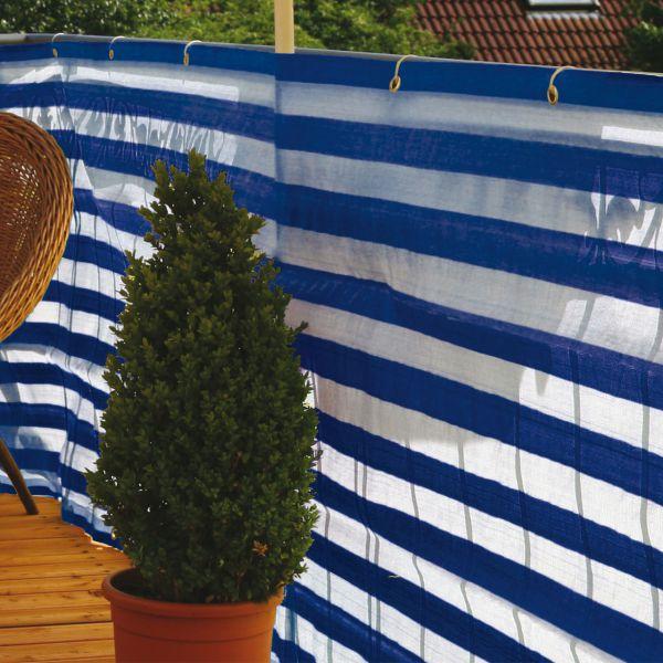 Balkonbespannung PP, blau/weiß