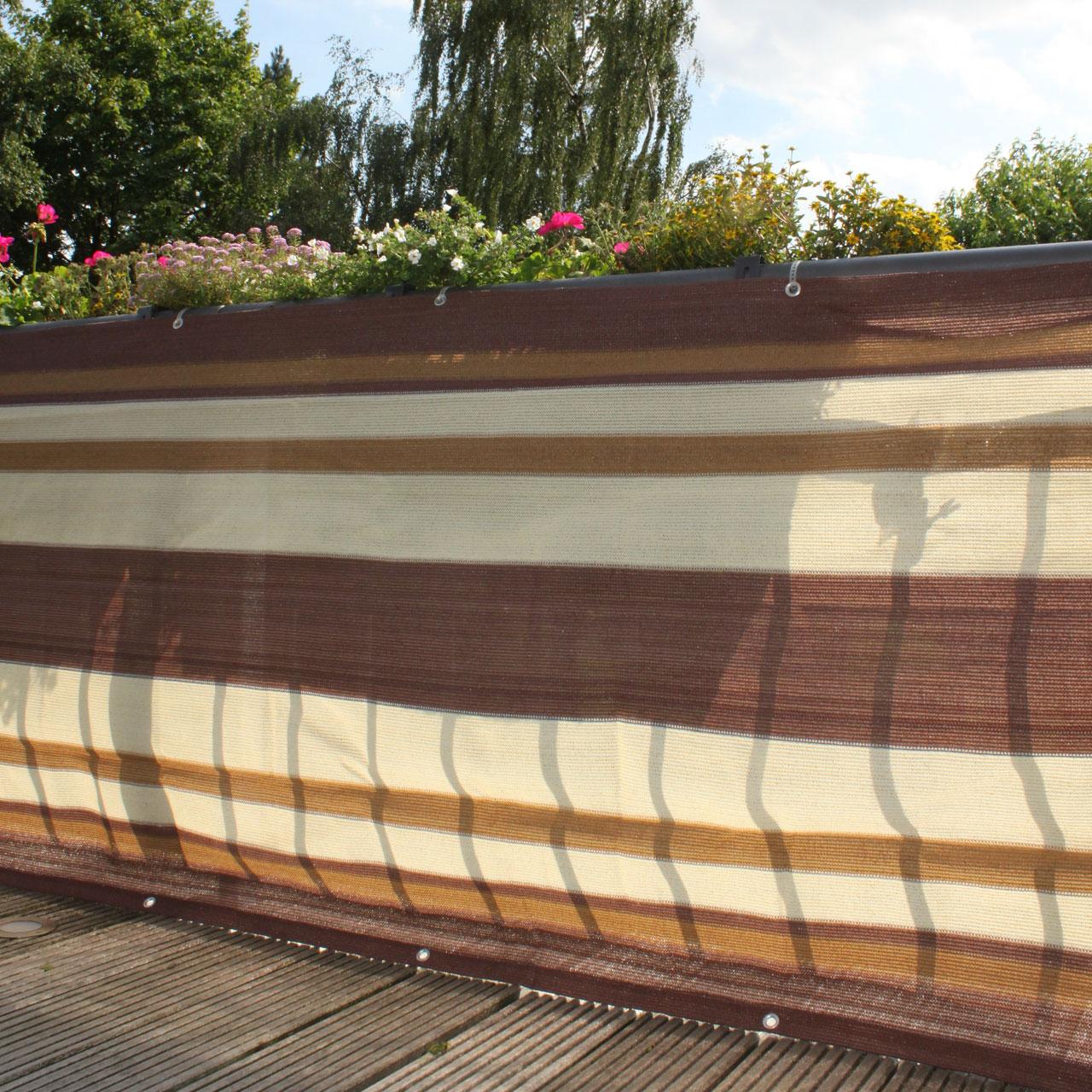 balkonbespannung pe design braun beige sichtschutz. Black Bedroom Furniture Sets. Home Design Ideas