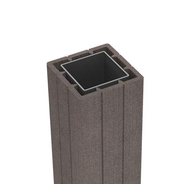 WPC Pfosten 7x7 Sichtschutzzaun Solid, terra-braun