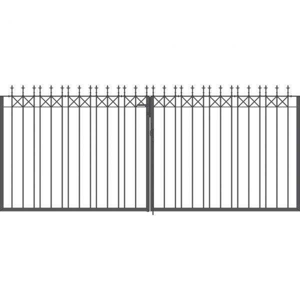 Toranlage 2-flügelig - Metallzaun Parkallee Classic Lilie H: 150cm