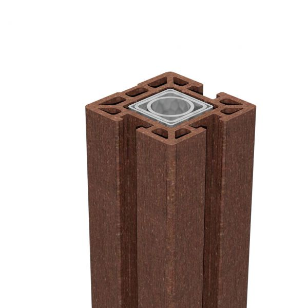 WPC Pfosten 10x10 Stecksystem, SOLID terra-braun